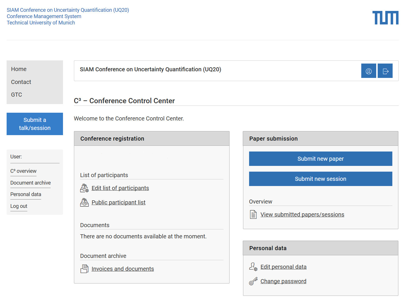 Screenshot of Converia user interface